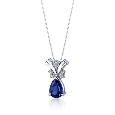 Oravo Gallantly Exotic 1.75 Carats Pear Shape Blue Sapphire Pendant in Sterling Silver
