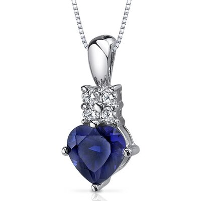 Captivating Love 1.75 Carats Heart Shape Blue Sapphire Pendant in Sterling Silver