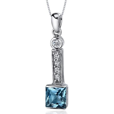 Sparkling 2.00 Carats Princess Cut Sterling Silver London Blue Topaz Pendant in Sterling Silver