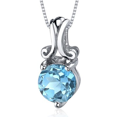 Refined Charm 1.50 Carats Round Cut Swiss Blue Topaz Pendant in Sterling Silver