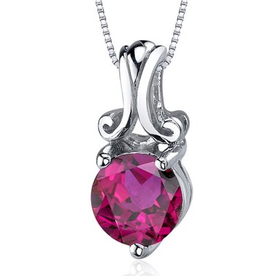 Refined Charm 1.75 Carats Round Cut Ruby Pendant in Sterling Silver