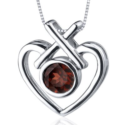 Oravo Art of Love 1.00 Carat Round Cut Garnet Pendant in Sterling Silver