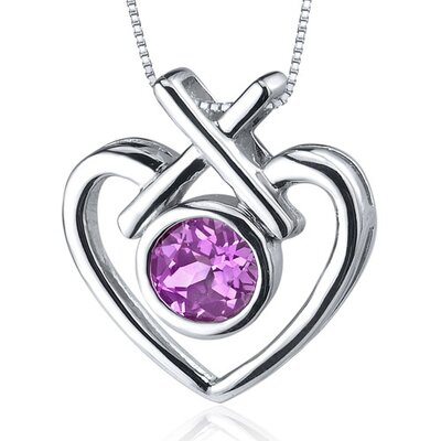 Art of Love 1.25 Carats Round Cut Pink Sapphire Pendant in Sterling Silver