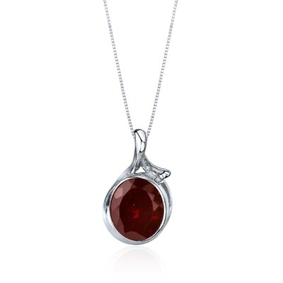Oravo Boldly Colorful 6.25 Carats Oval Cut Garnet Pendant in Sterling Silver