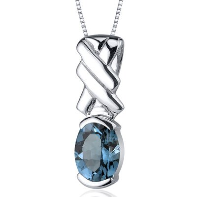 Debonair 1.50 Carats Oval Cut London Blue Topaz Pendant in Sterling Silver