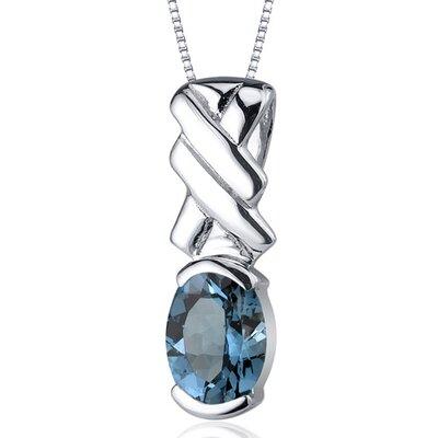 Debonair 1.50 Carats Oval Cut London Blue Topaz Pendant in Sterling Silver