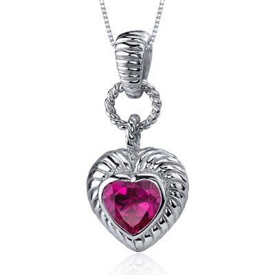 Gallant Love 1.75 Carats Heart Shape Ruby Pendant in Sterling Silve