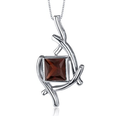 Artistic Design 2.00 Carats Princess Cut Garnet Pendant in Sterling Silve