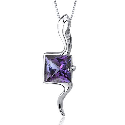 Vivid Grace 2.25 Carats Princess Cut Alexandrite Pendant in Sterling Silve