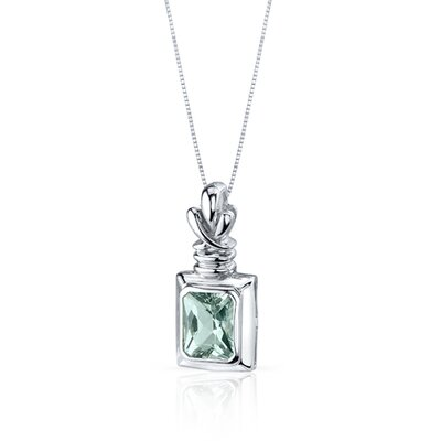Oravo Marvelous 2.00 Carats Radiant Cut Green Amethyst Pendant in Sterling Silve