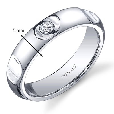 Oravo Solitaire Style 5mm Platinum Finish Notched Mens Cobalt Wedding Band Ring