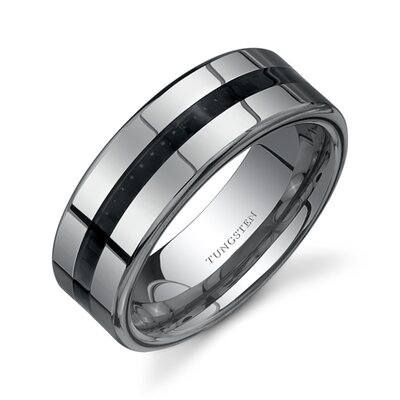 High Polish Black Carbon Fiber 8 mm Comfort Fit Mens Tungsten Wedding Band Ring
