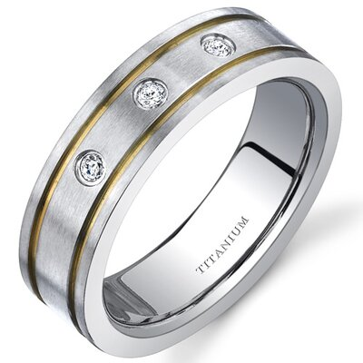 Titanium 3 Stone Womens 6 mm Gold Tone Wedding Band