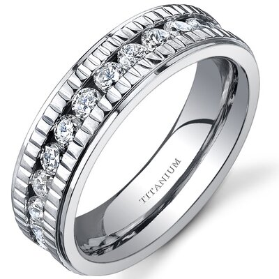 Notched Design Womens 6 mm Titanium Eternity Band