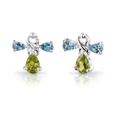Oravo 4.75 cts Pear Shape Peridot London Topaz Pendant Earrings in Sterling Silver Free 18 inch Necklace