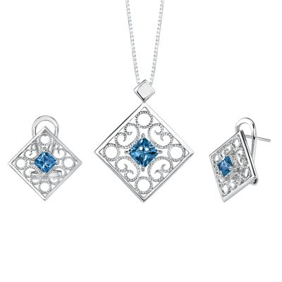 3.50 carats Princess Cut London blue Topaz Pendant Earrings Set in Sterling Silver