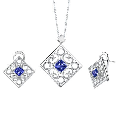 Princess Cut Sapphire Pendant Earrings Set in Sterling Silver