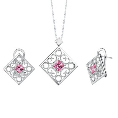 Princess Cut Pink Cubic Zirconia Pendant Earrings Set in Sterling Silver