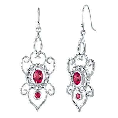 Oravo Oval and Round Shape Ruby Pendant Earrings Set in Sterling Silver