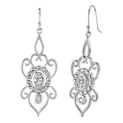 Oravo Oval and Round Shape White Cubic Zirconia Pendant Earrings Set in Sterling Silver