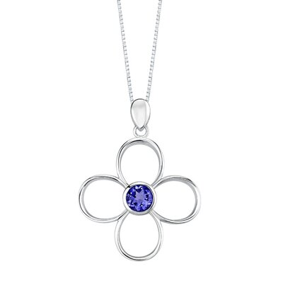 Oravo Round Shape Sapphire Pendant Earrings Set in Sterling Silver