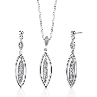 Oravo Exquisite Style Sterling Silver Celebrity Inspired Bridal Jewelry Dangle Style Earring Pendant Set With Cubic Zirconia