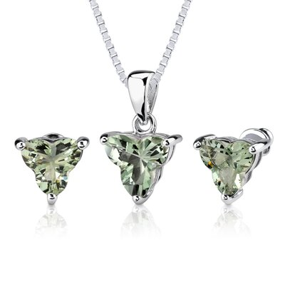 Ultimate Allure 6.75 carat Tri Flower Cut Green Amethyst Pendant Earring Set in Sterling Silver ...