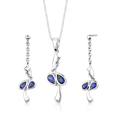 "Oravo Sterling Silver 2.00 Carats Pear Shape Sapphire Pendant Earrings and 18"" Necklace Set"