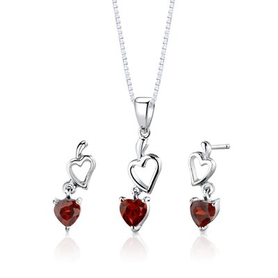 "Oravo Sterling Silver Heart Shape Garnet Pendant Earrings and 18"" Necklace Set"