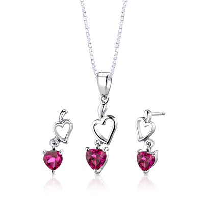 Sterling Silver Heart Shape Ruby Pendant Earrings and 18
