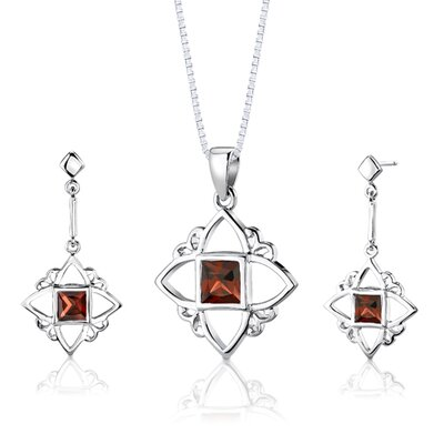 Sterling Silver Princess Cut Garnet Pendant Earrings and 18