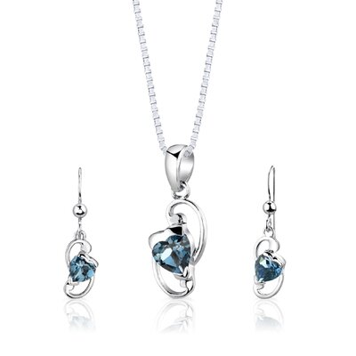"Oravo Sterling Silver 2.00 Carats Heart Shape London Blue Topaz Pendant Earrings and 18"" Necklace Set"