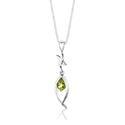"Oravo Sterling Silver 2.00 Carats Pear Shape Peridot Pendant Earrings and 18"" Necklace Set"