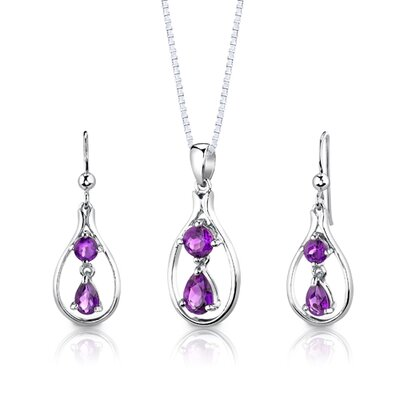 "Oravo Sterling Silver 2.25 Carats Multishape Gemstone Pendant Earrings and 18"" Necklace Set"