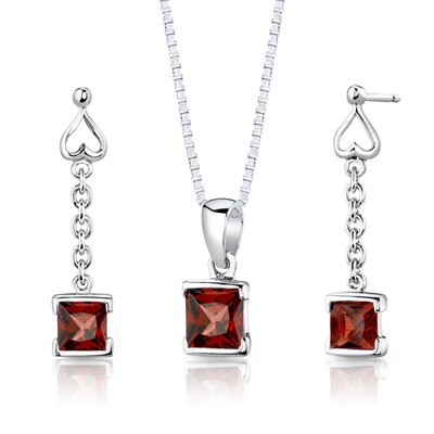 "Oravo Sterling Silver 2.75 Carats Princess Cut Garnet Pendant Earrings and 18"" Necklace Set"
