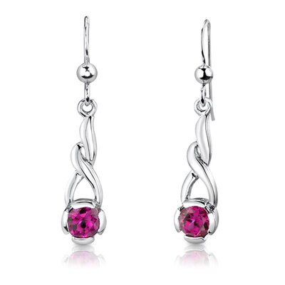 "Oravo Sterling Silver 1.25"" Round Shape Ruby Pendant Earrings and 18"" Necklace Set"