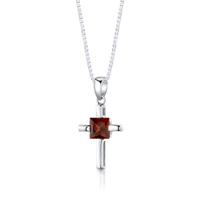 "Oravo Sterling Silver Cross Design 2.75 Carats Princess Cut Garnet Pendant Earrings and 18"" Necklace Set"