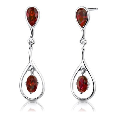 "Oravo Sterling Silver 4.00 Carats Oval Shape Garnet Pendant Earrings and 18"" Necklace Set"