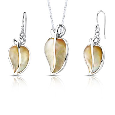 Autumn Fiesta Sterling Silver with Autumn Gold Mother of Pearl Leaf Pendant and Earrings Set ...