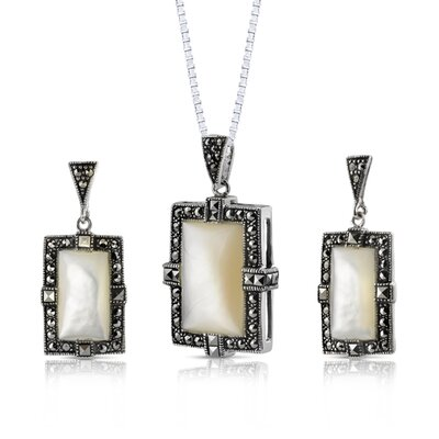 Oravo Imperial Beauty Sterling Silver with Marcasite and White Mother of Pearl Picture frame Pendant and Earrings Set