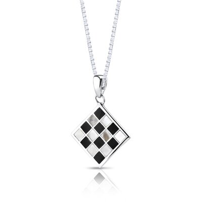 Oravo Chessboard Design Black and White Mother of Pearl Pendant Earrings Necklace Set Sterling Silver