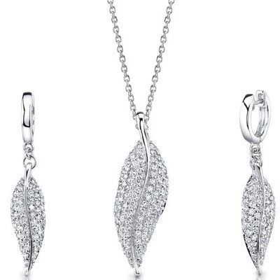 Celebrated Elegance Sterling Silver Leaf Pendant Necklace Earrings Set with Cubic Zirconia