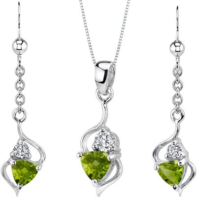 Classy 1.75 Carats Trillion Cut Sterling Silver Peridot Pendant Earrings Set