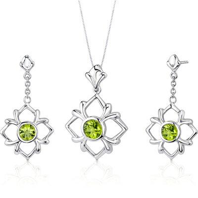 Oravo Floral Design 3.5 Carats Round Cut Sterling Silver Peridot Pendant Earrings Set