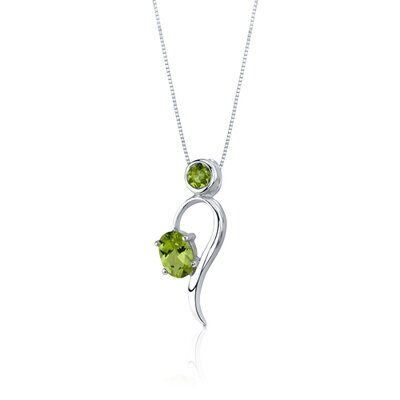Oravo Trendy 2.25 Carats Oval Round Shape Sterling Silver Peridot Pendant Earrings Set