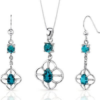Oravo Dream Catcher Design 3.00 Carats Round Pear Shape Sterling Silver London Blue Topaz Pendant Earrings Set