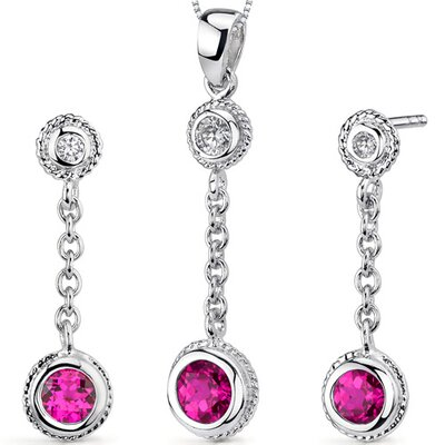 Bezel Set 1.50 Carats Round Shape Sterling Silver Ruby Pendant Earrings Set