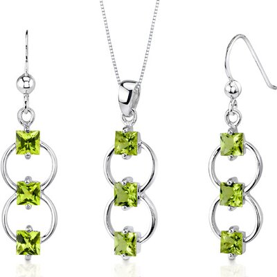 3 Stone 3.5 Carats Princess Cut Sterling Silver Peridot Pendant Earrings Set