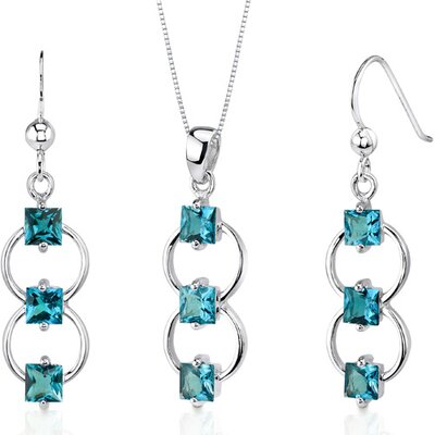 3 Stone 3.75 Carats Princess Cut Sterling Silver London Blue Topaz Pendant Earrings Set