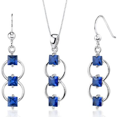 Oravo 3 Stone 3.75 Carats Princess Cut Sterling Silver Sapphire Pendant Earrings Set